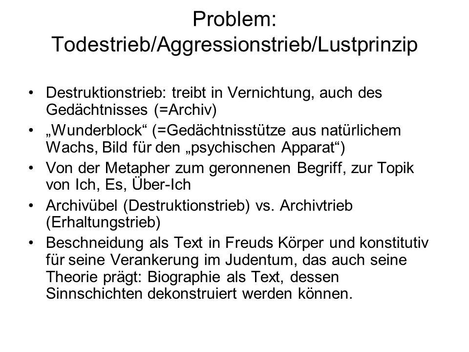 Problem: Todestrieb/Aggressionstrieb/Lustprinzip
