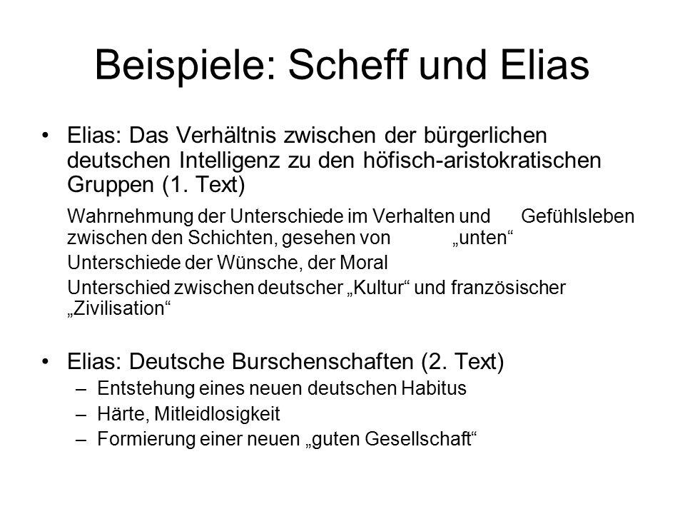 Beispiele: Scheff und Elias