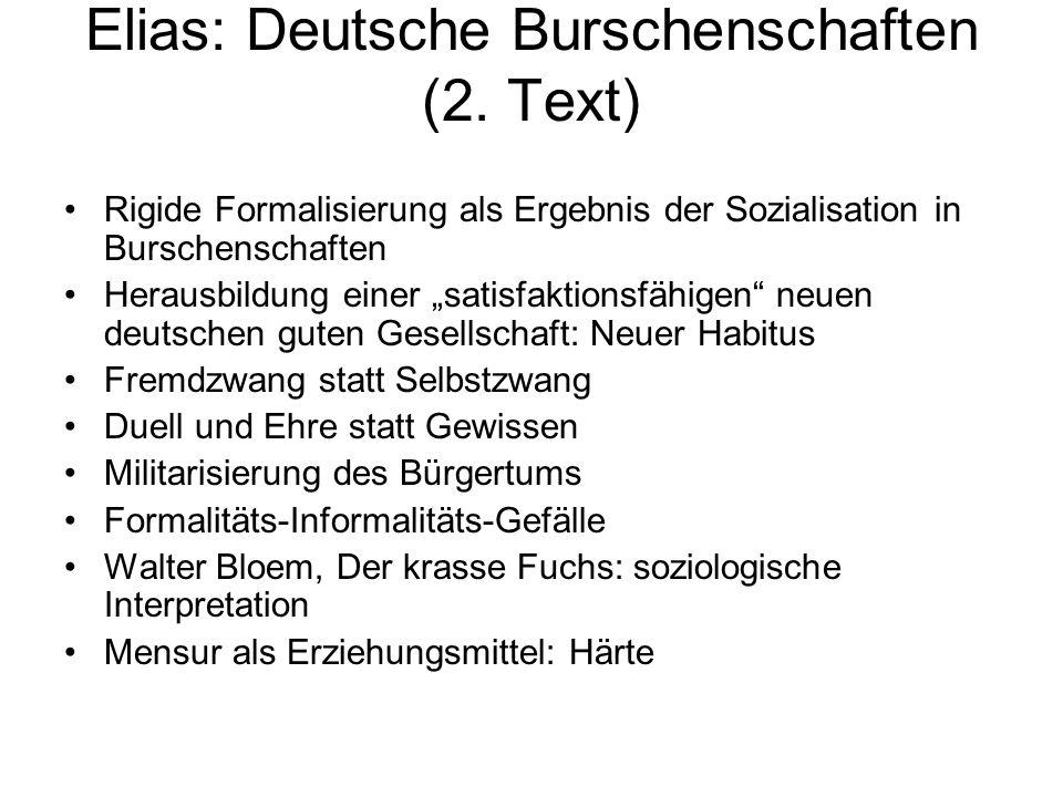 Elias: Deutsche Burschenschaften (2. Text)