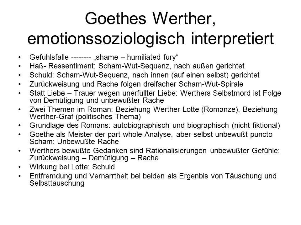 Goethes Werther, emotionssoziologisch interpretiert