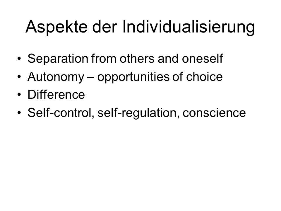 Aspekte der Individualisierung