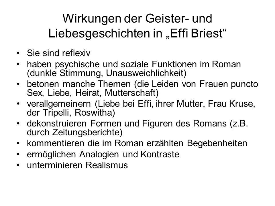 """Wirkungen der Geister- und Liebesgeschichten in """"Effi Briest"""