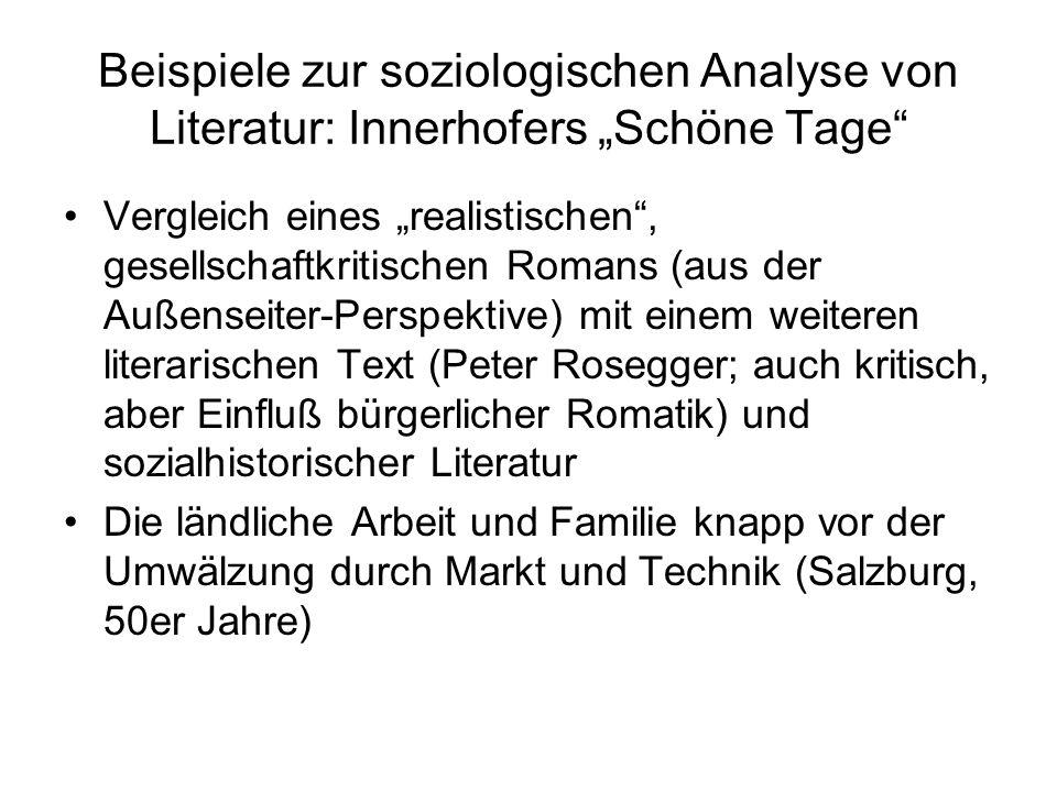 """Beispiele zur soziologischen Analyse von Literatur: Innerhofers """"Schöne Tage"""