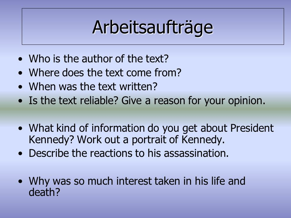 Arbeitsaufträge Who is the author of the text