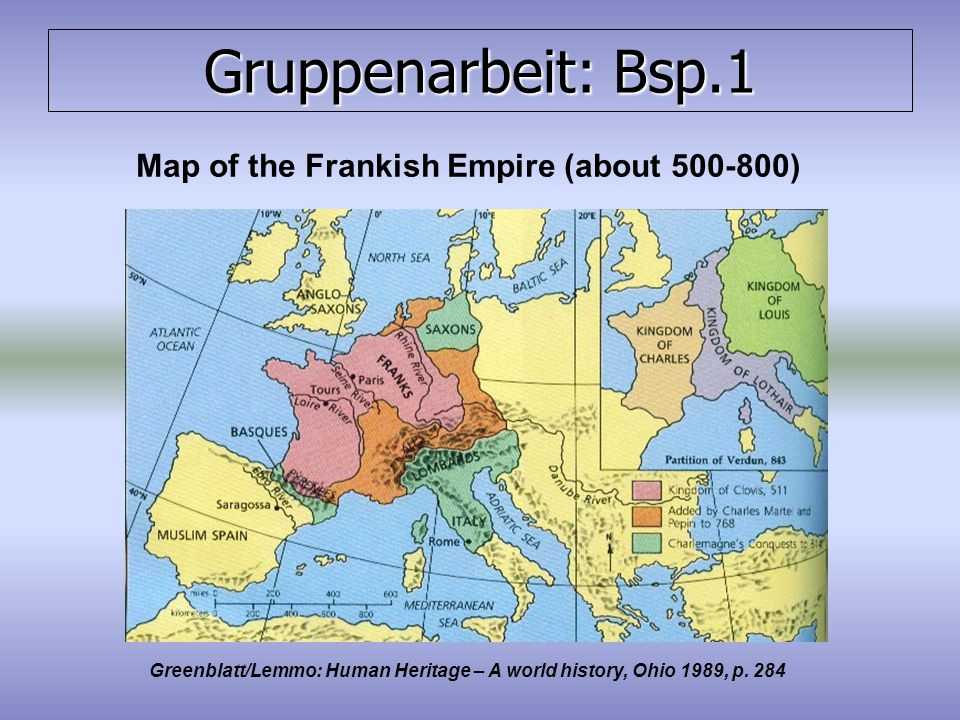 Map of the Frankish Empire (about 500-800)