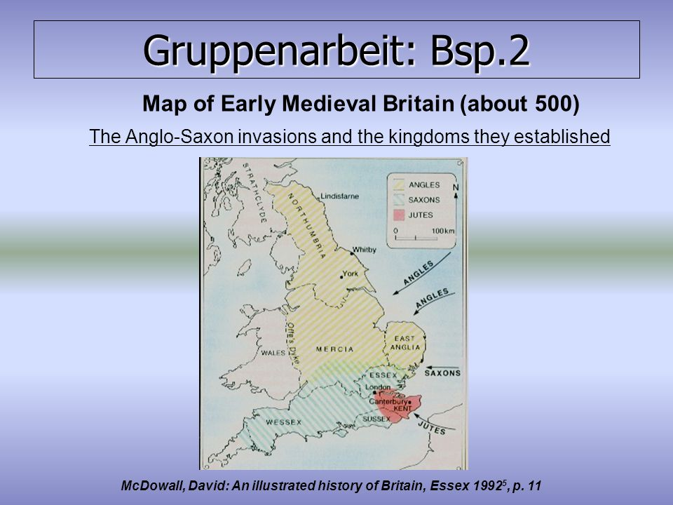 Map of Early Medieval Britain (about 500)
