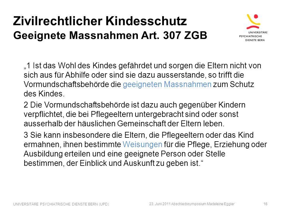 Zivilrechtlicher Kindesschutz Geeignete Massnahmen Art. 307 ZGB