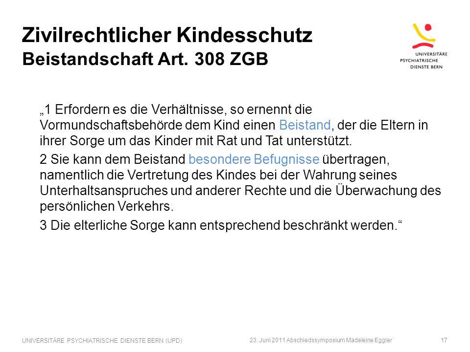 Zivilrechtlicher Kindesschutz Beistandschaft Art. 308 ZGB