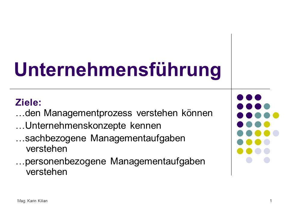 Unternehmensführung Ziele: …den Managementprozess verstehen können