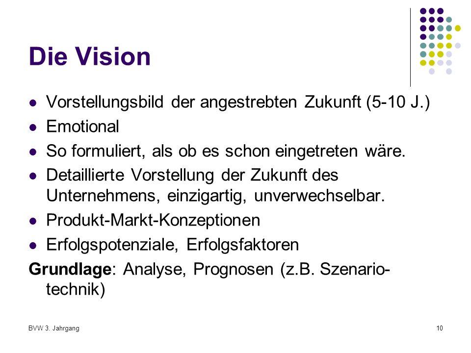 Die Vision Vorstellungsbild der angestrebten Zukunft (5-10 J.)