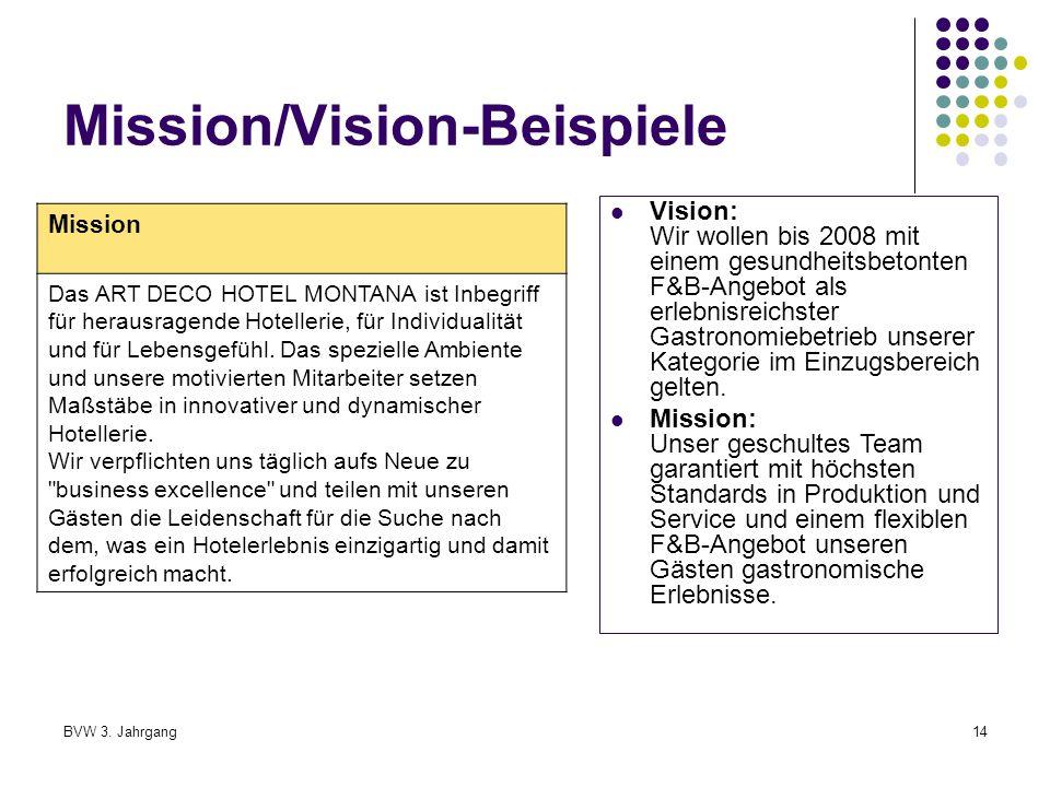 Mission/Vision-Beispiele