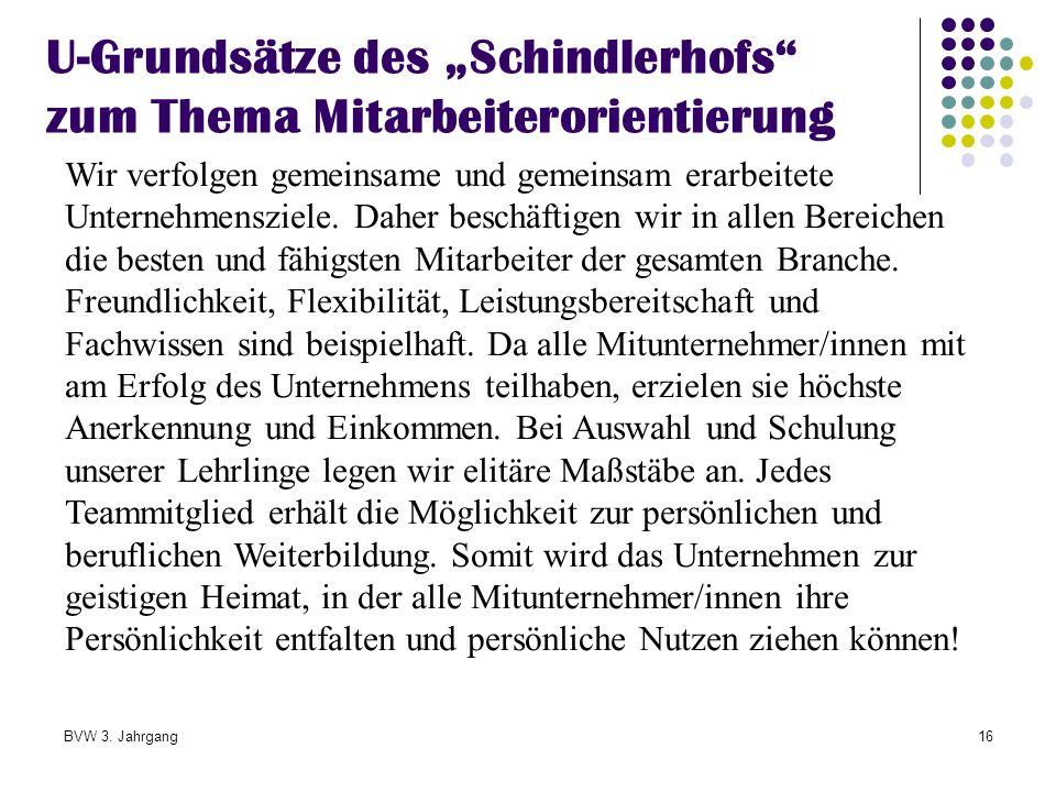 """U-Grundsätze des """"Schindlerhofs zum Thema Mitarbeiterorientierung"""