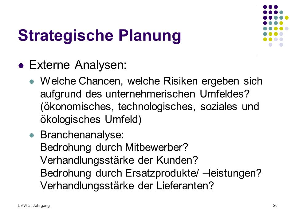 Strategische Planung Externe Analysen: