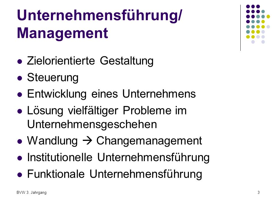 Unternehmensführung/ Management