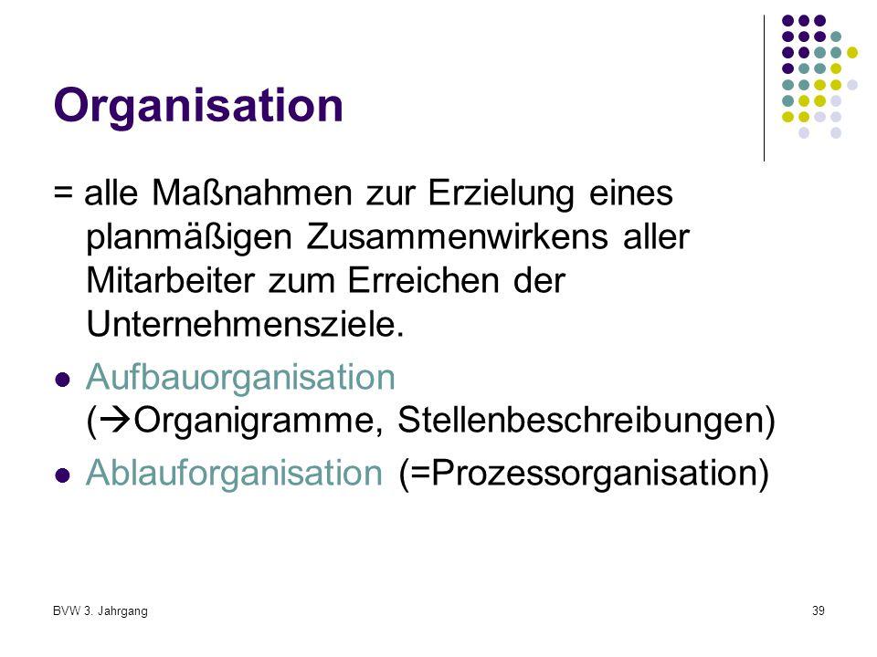 Organisation = alle Maßnahmen zur Erzielung eines planmäßigen Zusammenwirkens aller Mitarbeiter zum Erreichen der Unternehmensziele.