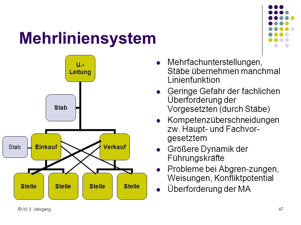 Mehrliniensystem Mehrfachunterstellungen, Stäbe übernehmen manchmal Linienfunktion.