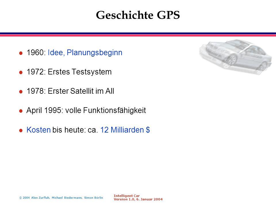 Geschichte GPS 1960: Idee, Planungsbeginn 1972: Erstes Testsystem