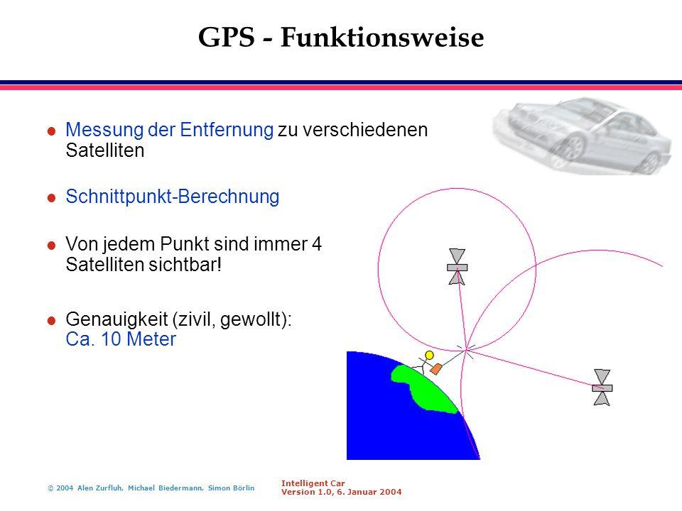 GPS - Funktionsweise Messung der Entfernung zu verschiedenen Satelliten. Schnittpunkt-Berechnung.