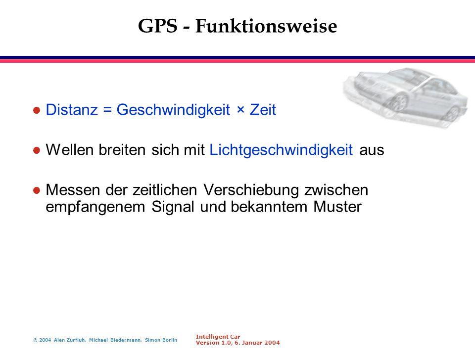 GPS - Funktionsweise Distanz = Geschwindigkeit × Zeit