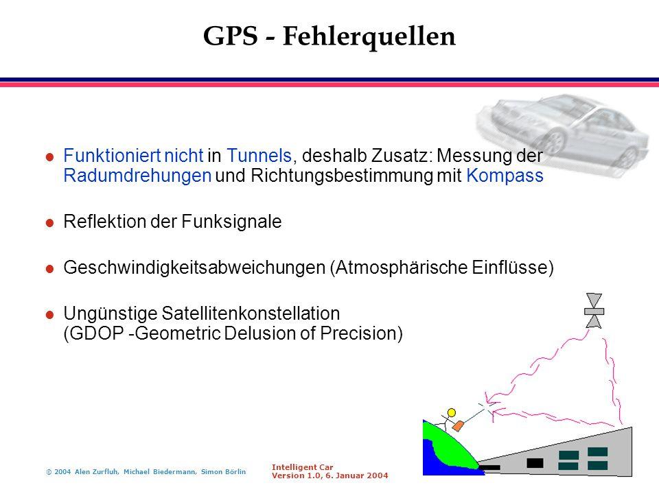 GPS - Fehlerquellen Funktioniert nicht in Tunnels, deshalb Zusatz: Messung der Radumdrehungen und Richtungsbestimmung mit Kompass.