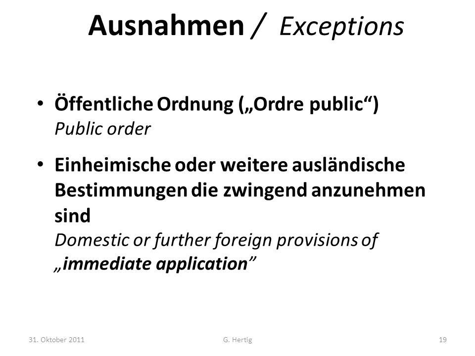 Ausnahmen / Exceptions