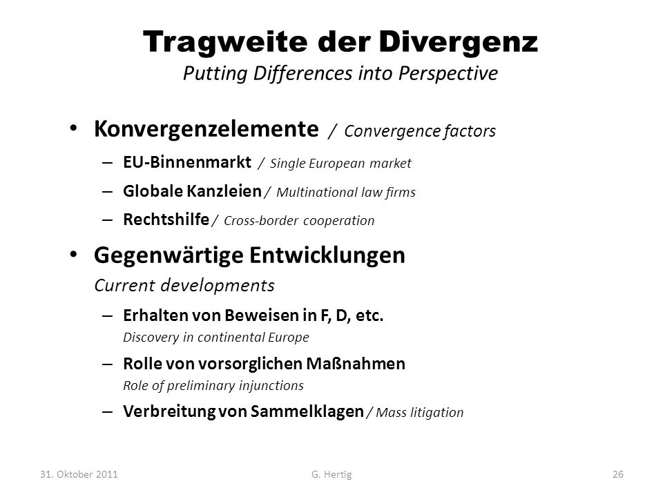 Tragweite der Divergenz Putting Differences into Perspective