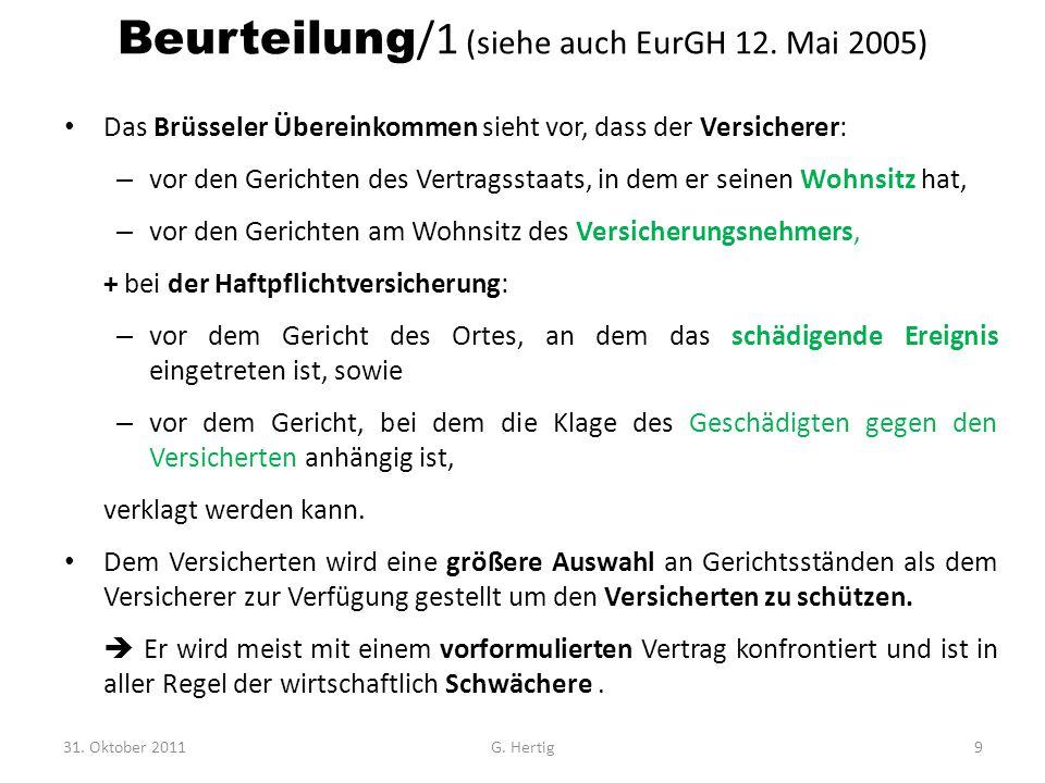 Beurteilung/1 (siehe auch EurGH 12. Mai 2005)