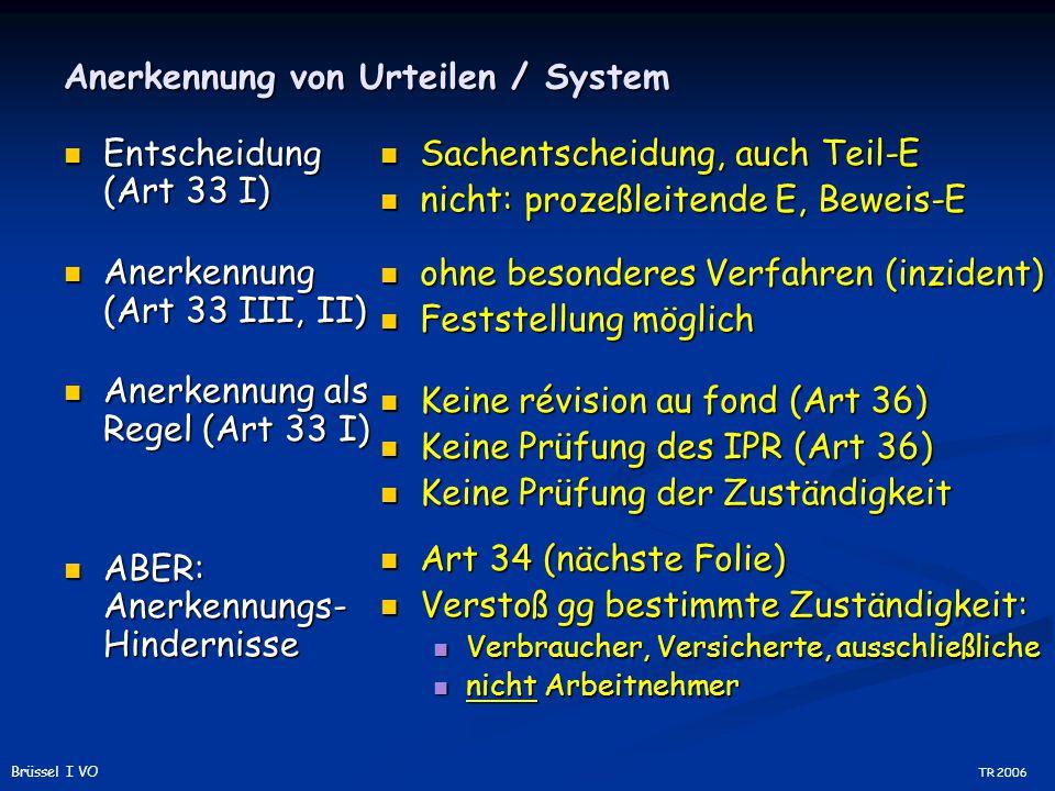 Anerkennung von Urteilen / System