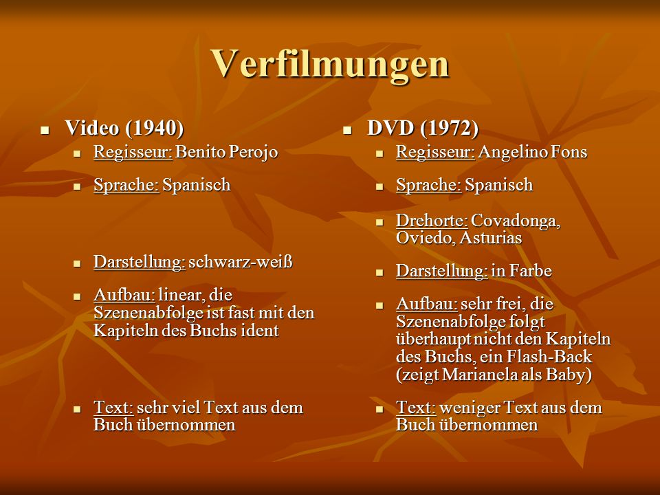 Verfilmungen Video (1940) DVD (1972) Regisseur: Benito Perojo