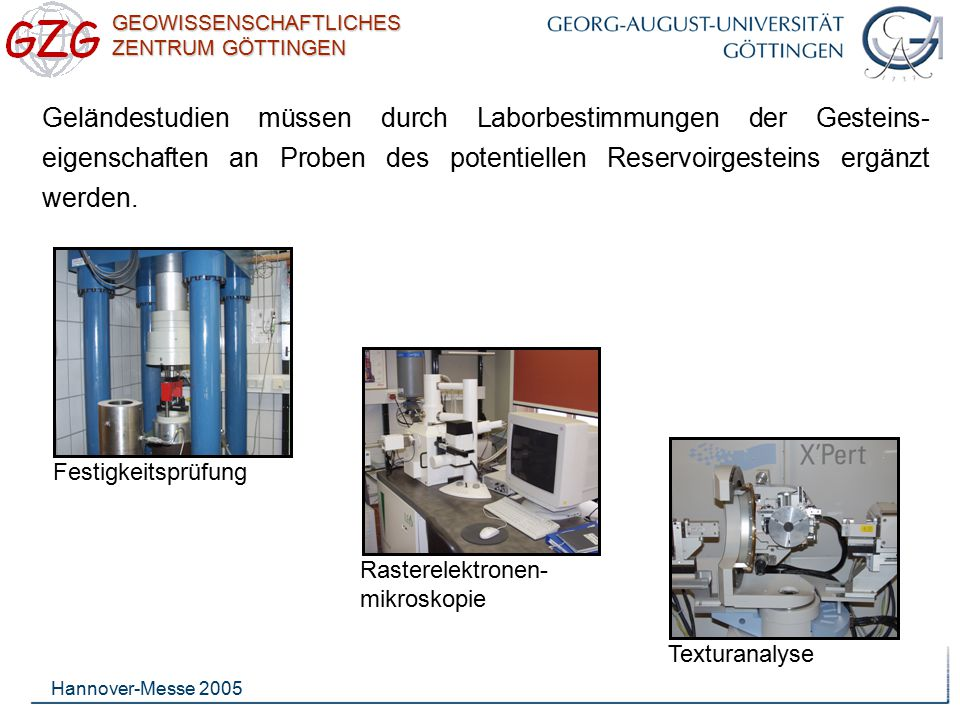 Geländestudien müssen durch Laborbestimmungen der Gesteins-eigenschaften an Proben des potentiellen Reservoirgesteins ergänzt werden.