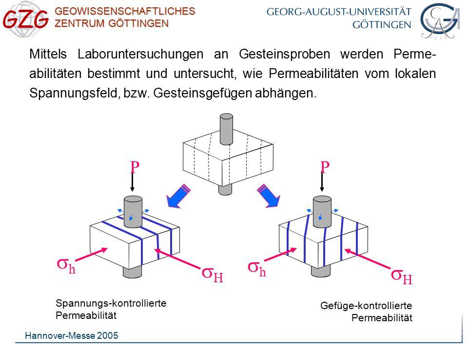 Mittels Laboruntersuchungen an Gesteinsproben werden Perme-abilitäten bestimmt und untersucht, wie Permeabilitäten vom lokalen Spannungsfeld, bzw. Gesteinsgefügen abhängen.
