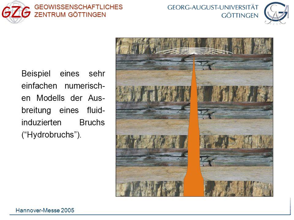Beispiel eines sehr einfachen numerisch-en Modells der Aus-breitung eines fluid-induzierten Bruchs ( Hydrobruchs ).