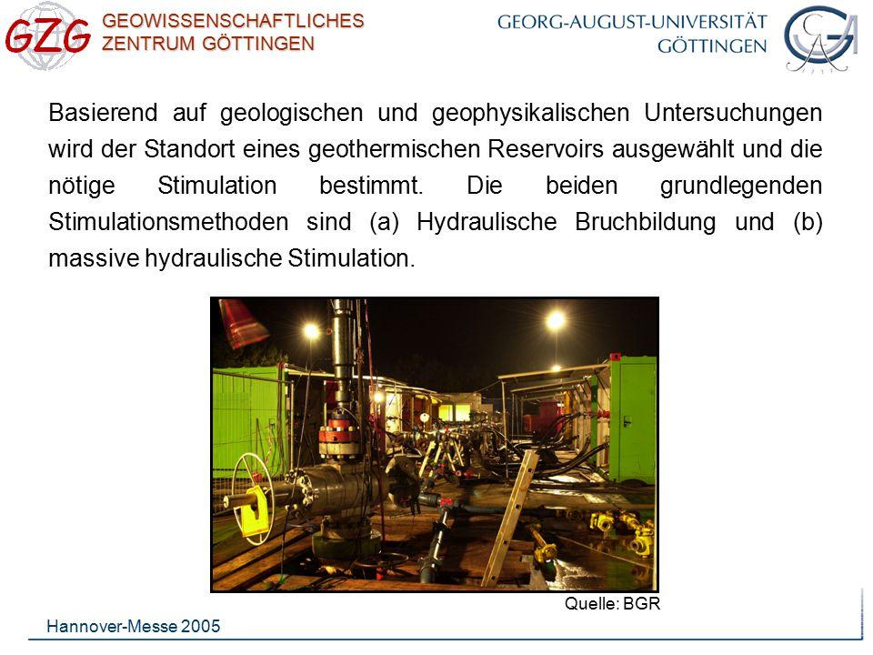 Basierend auf geologischen und geophysikalischen Untersuchungen wird der Standort eines geothermischen Reservoirs ausgewählt und die nötige Stimulation bestimmt. Die beiden grundlegenden Stimulationsmethoden sind (a) Hydraulische Bruchbildung und (b) massive hydraulische Stimulation.