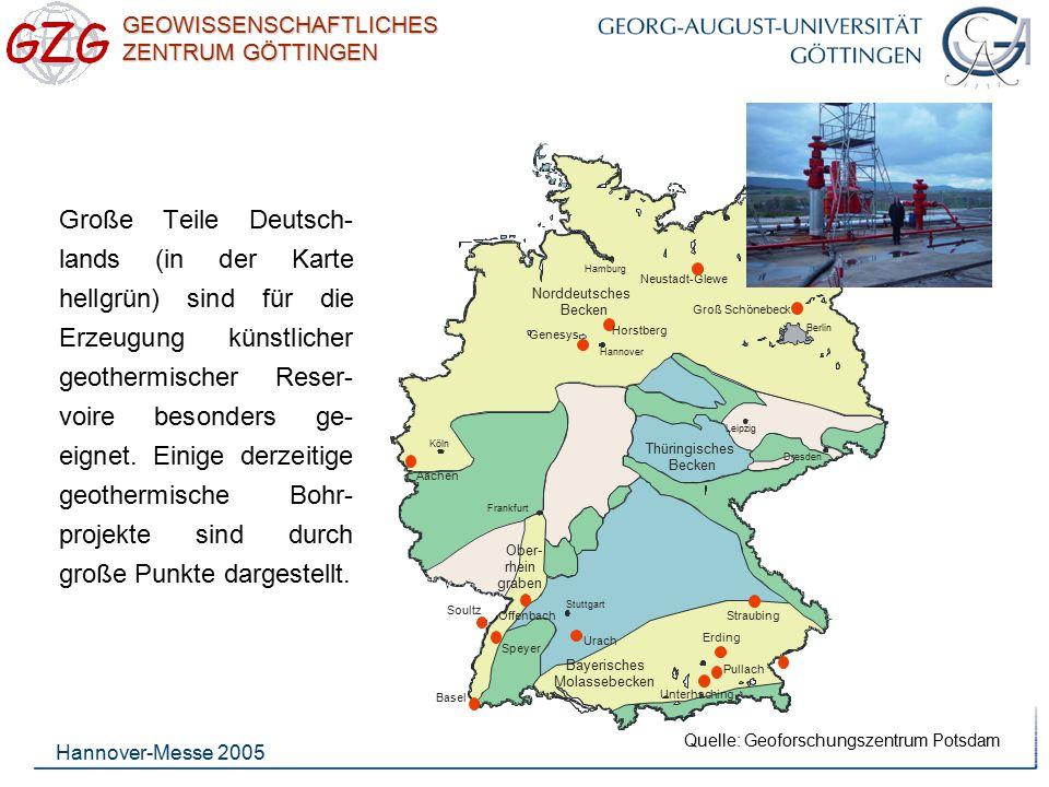 Groß Schönebeck Hamburg. Hannover. Thüringisches. Becken. Ober- rhein. graben. Dresden. Leipzig.