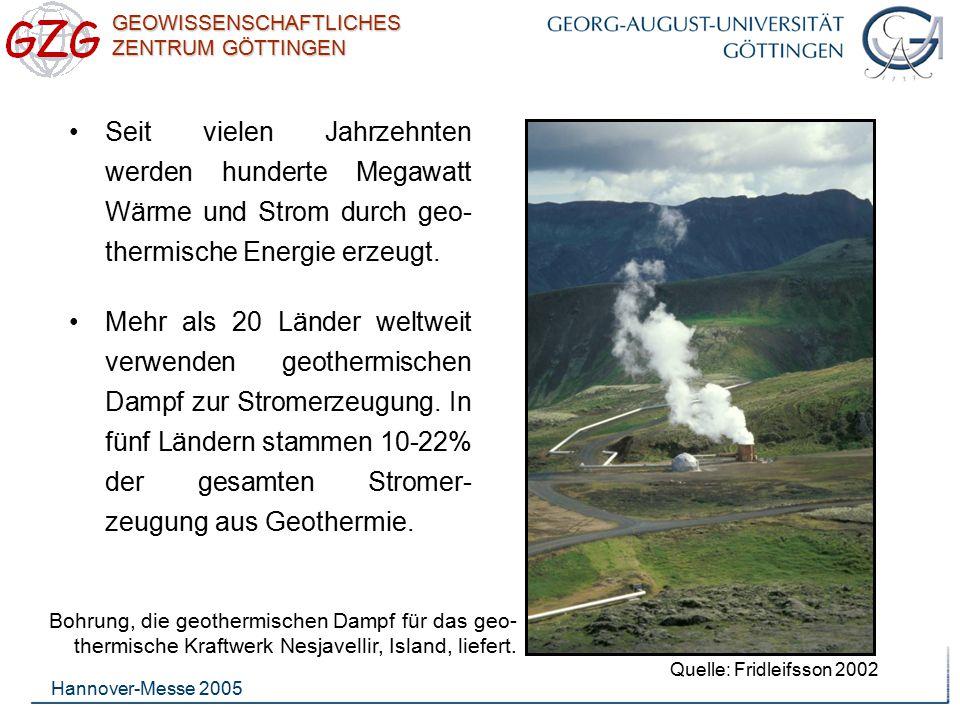 Seit vielen Jahrzehnten werden hunderte Megawatt Wärme und Strom durch geo-thermische Energie erzeugt.