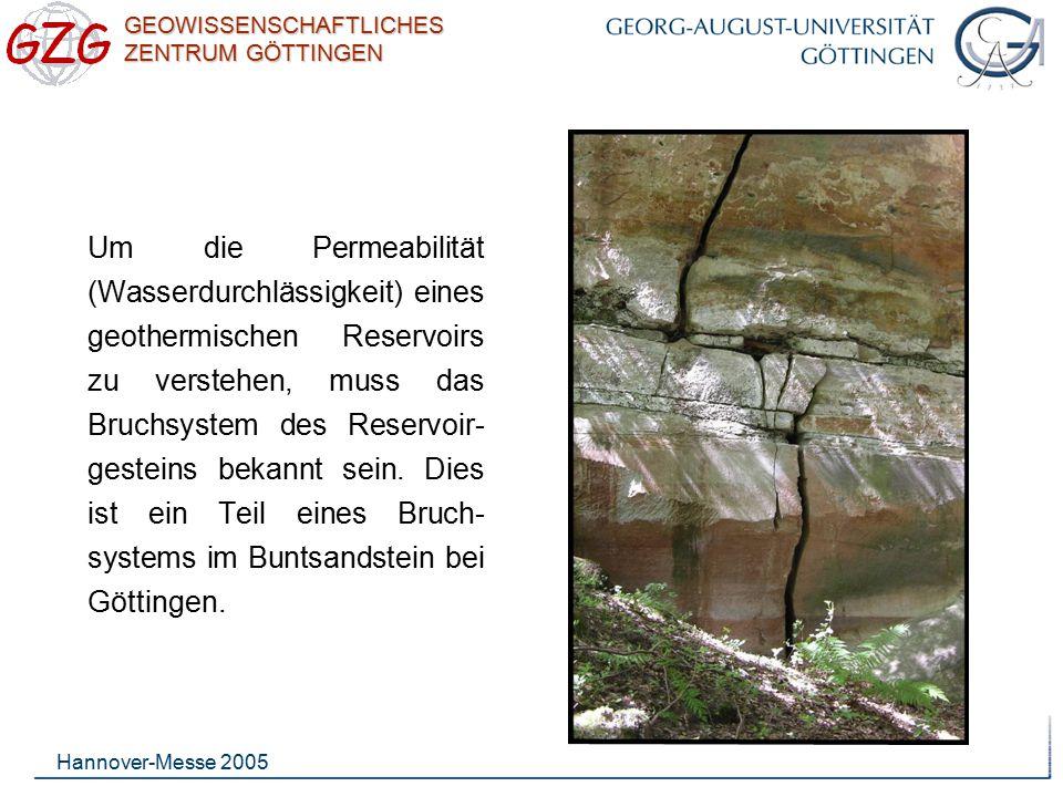 Um die Permeabilität (Wasserdurchlässigkeit) eines geothermischen Reservoirs zu verstehen, muss das Bruchsystem des Reservoir-gesteins bekannt sein. Dies ist ein Teil eines Bruch-systems im Buntsandstein bei Göttingen.