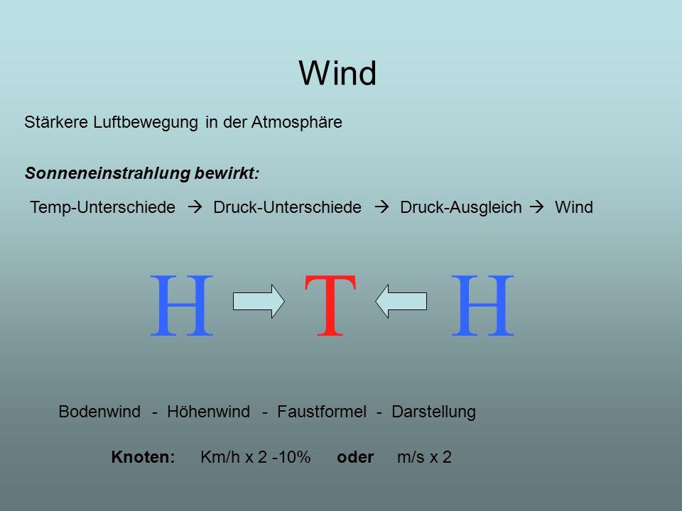 H T H Wind Stärkere Luftbewegung in der Atmosphäre