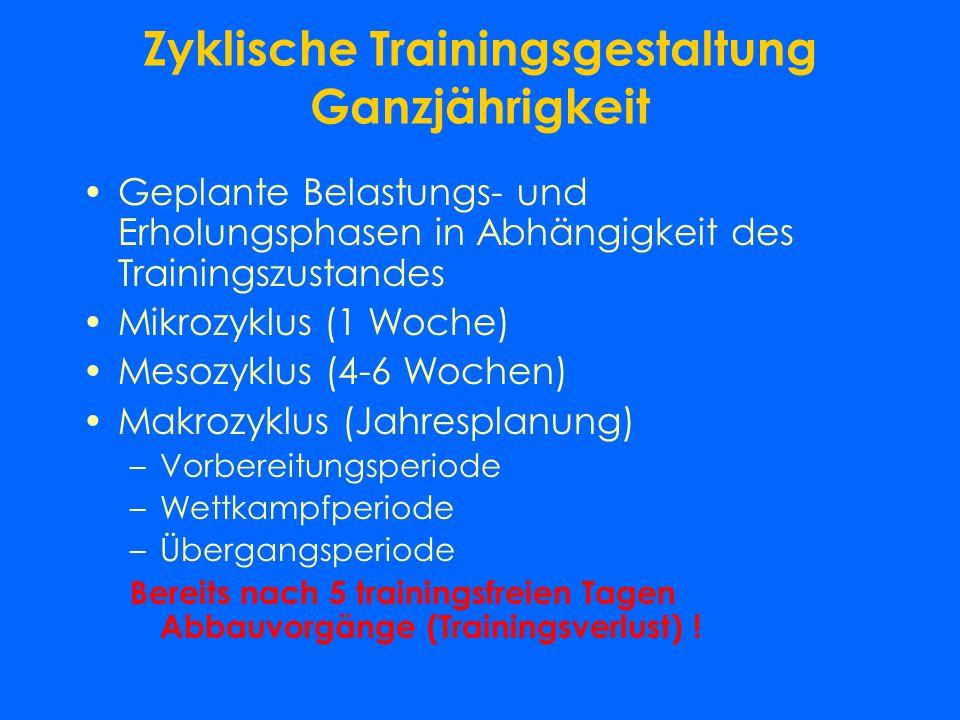 Zyklische Trainingsgestaltung Ganzjährigkeit
