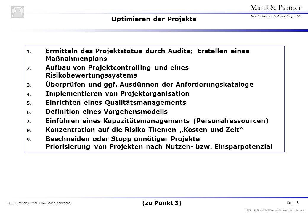 Optimieren der Projekte