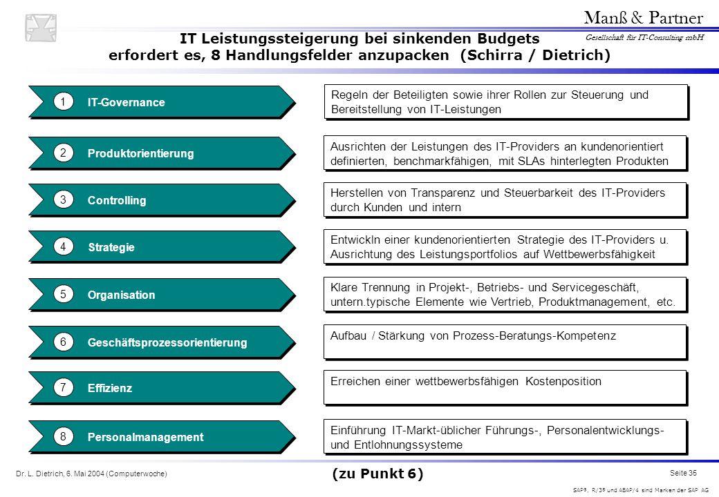 IT Leistungssteigerung bei sinkenden Budgets erfordert es, 8 Handlungsfelder anzupacken (Schirra / Dietrich)