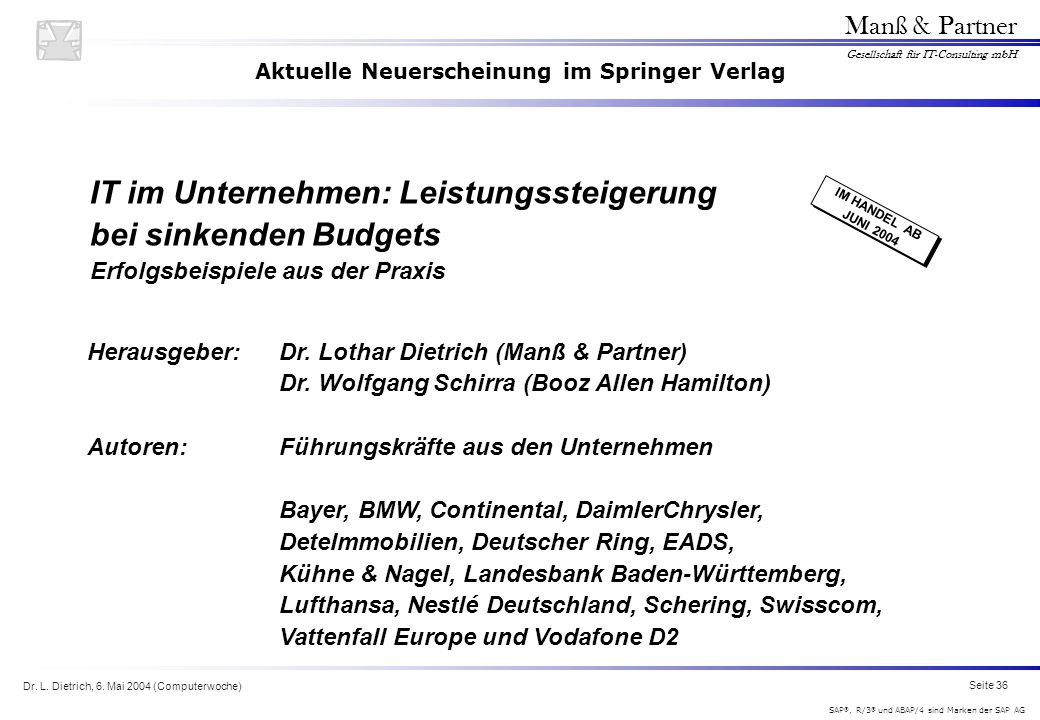 Aktuelle Neuerscheinung im Springer Verlag