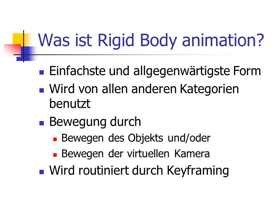 Was ist Rigid Body animation