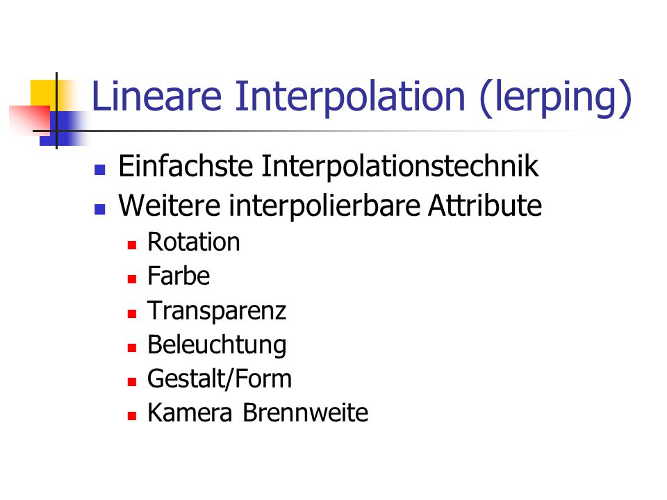 Lineare Interpolation (lerping)