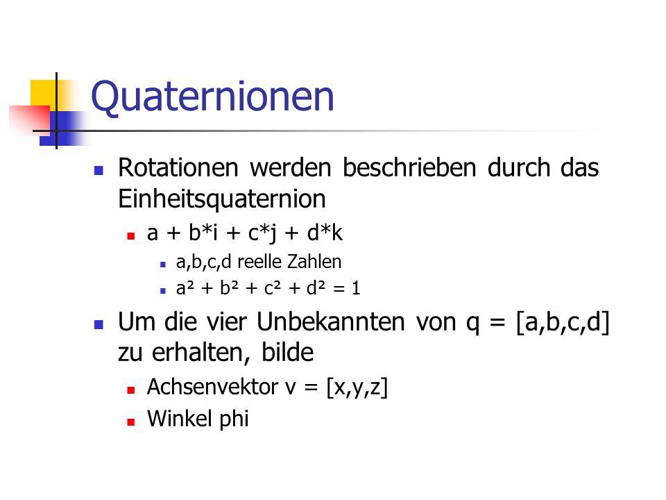 Quaternionen Rotationen werden beschrieben durch das Einheitsquaternion. a + b*i + c*j + d*k. a,b,c,d reelle Zahlen.