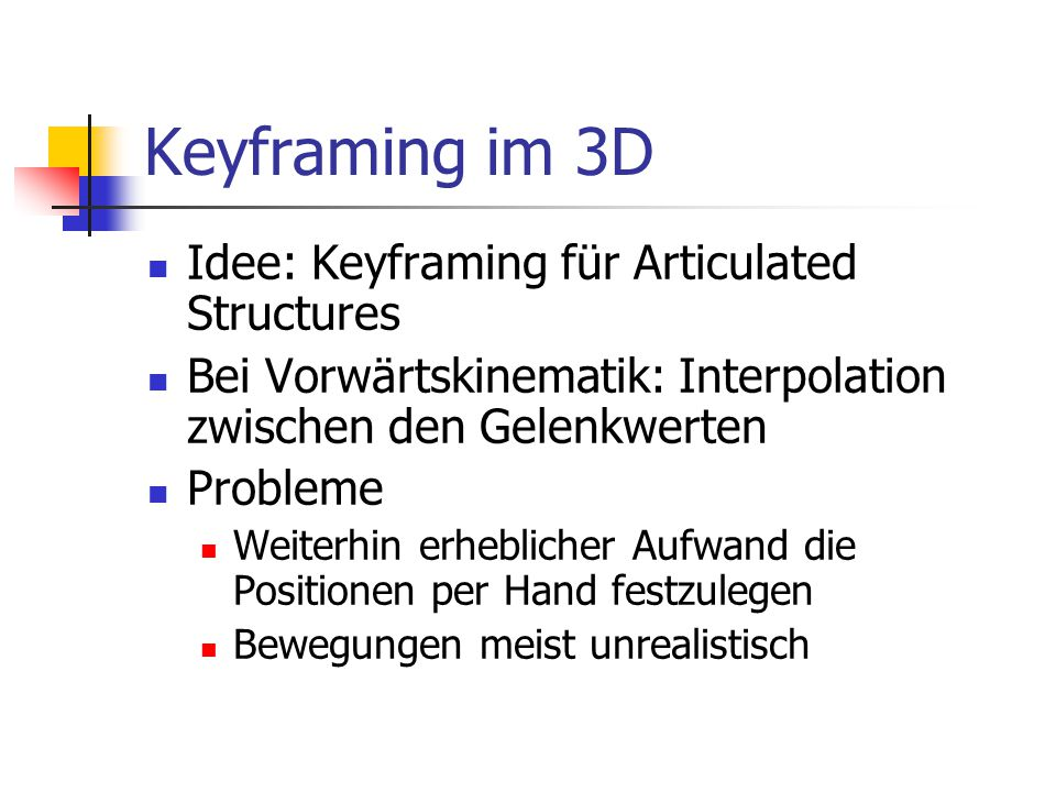Keyframing im 3D Idee: Keyframing für Articulated Structures