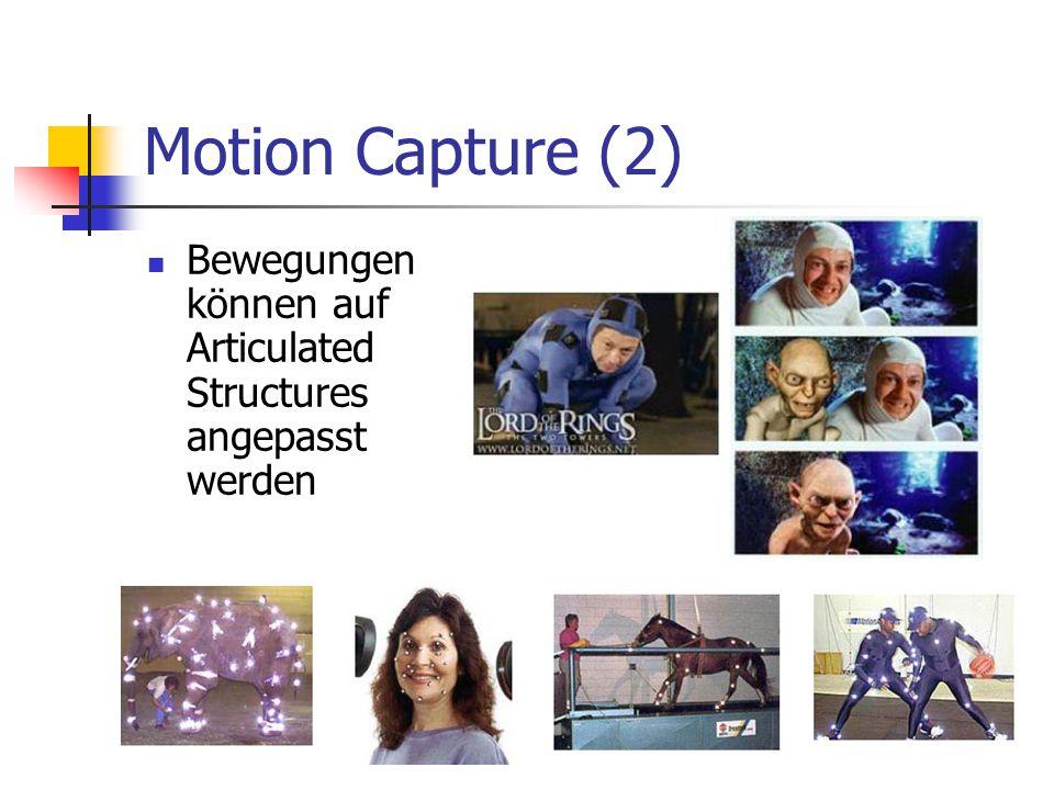 Motion Capture (2) Bewegungen können auf Articulated Structures angepasst werden