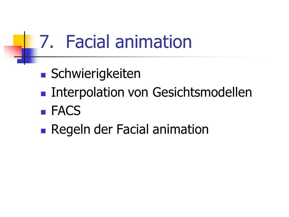 Facial animation Schwierigkeiten Interpolation von Gesichtsmodellen
