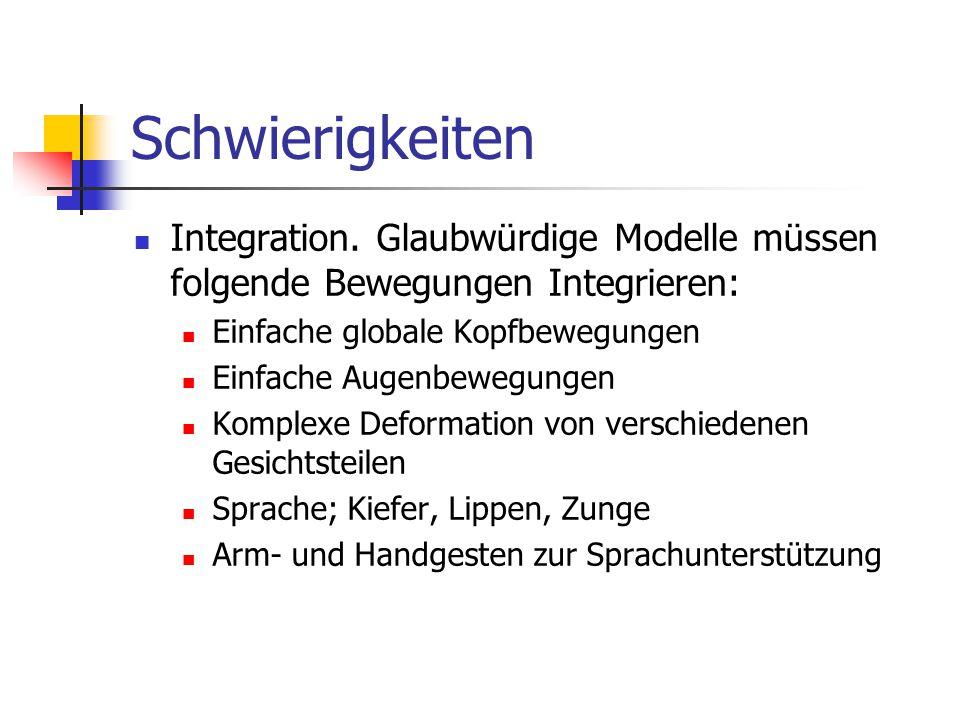 Schwierigkeiten Integration. Glaubwürdige Modelle müssen folgende Bewegungen Integrieren: Einfache globale Kopfbewegungen.