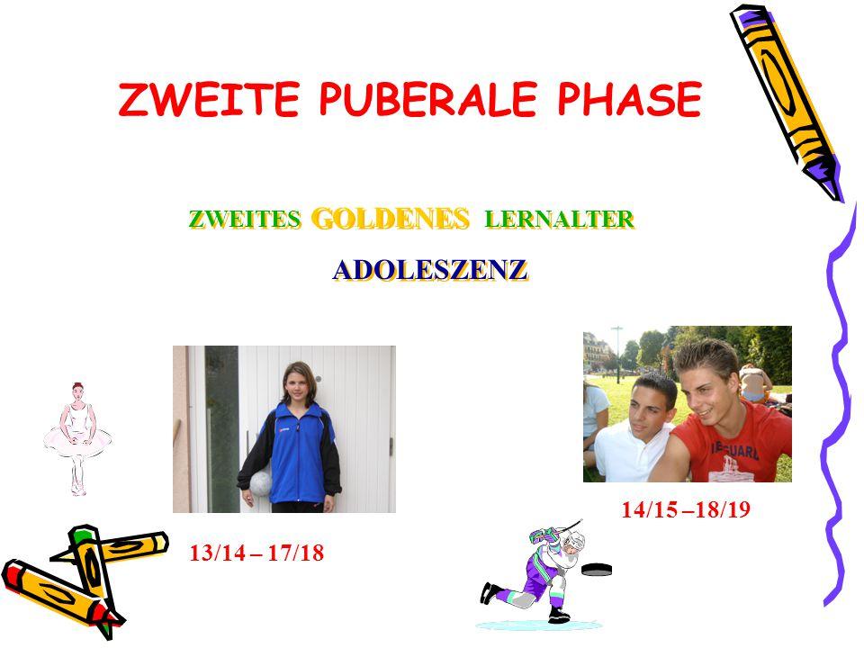 ZWEITE PUBERALE PHASE ZWEITES GOLDENES LERNALTER ADOLESZENZ