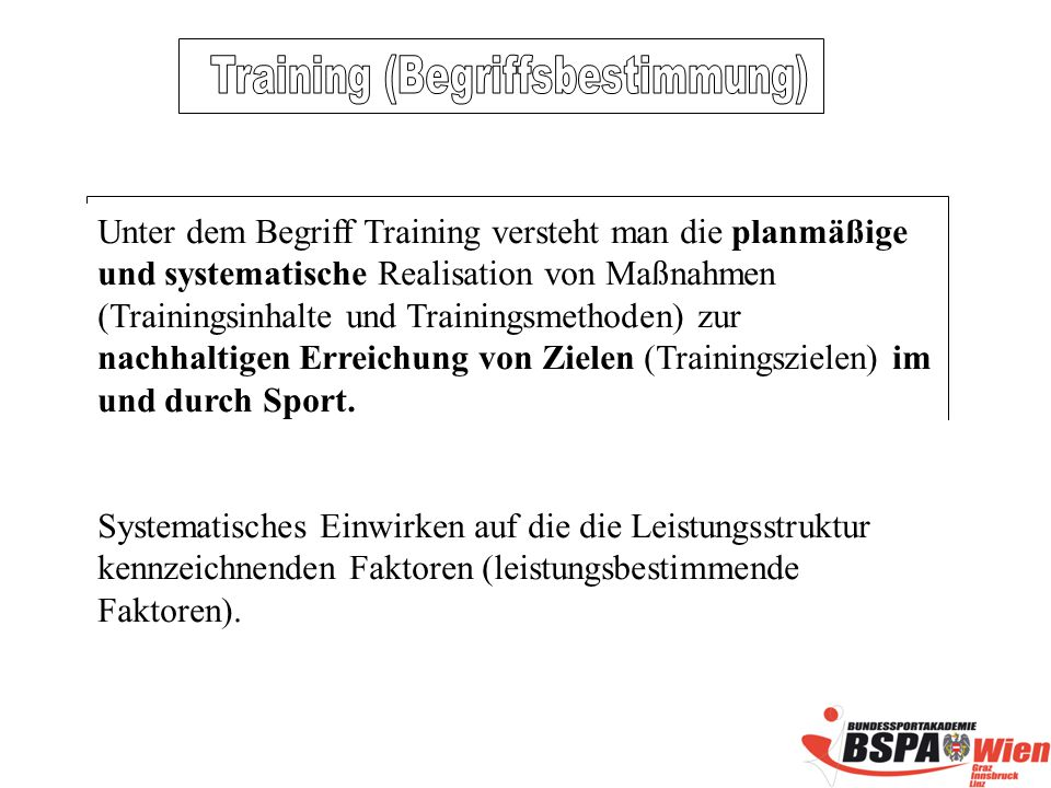 Training (Begriffsbestimmung)